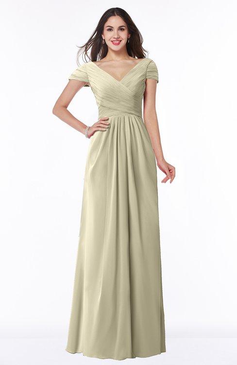 ColsBM Evie Putty Glamorous A-line Short Sleeve Floor Length Ruching Plus Size Bridesmaid Dresses
