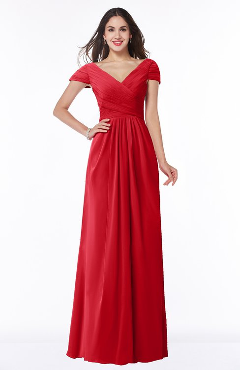 ColsBM Evie Red Glamorous A-line Short Sleeve Floor Length Ruching Plus Size Bridesmaid Dresses