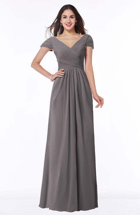 ColsBM Evie Ridge Grey Glamorous A-line Short Sleeve Floor Length Ruching Plus Size Bridesmaid Dresses