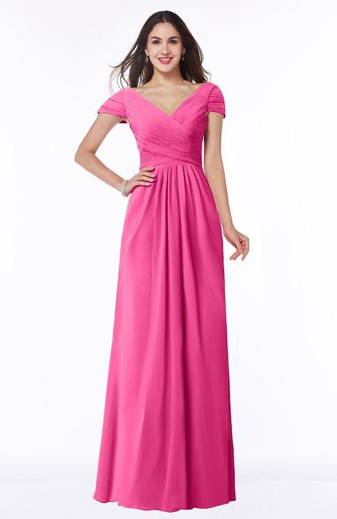 ColsBM Evie Rose Pink Glamorous A-line Short Sleeve Floor Length Ruching Plus Size Bridesmaid Dresses
