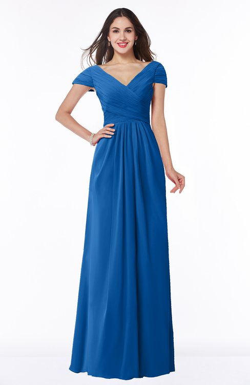 ColsBM Evie Royal Blue Glamorous A-line Short Sleeve Floor Length Ruching Plus Size Bridesmaid Dresses