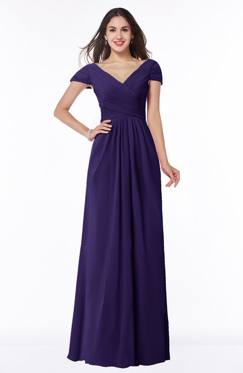 ColsBM Evie Royal Purple Glamorous A-line Short Sleeve Floor Length Ruching Plus Size Bridesmaid Dresses