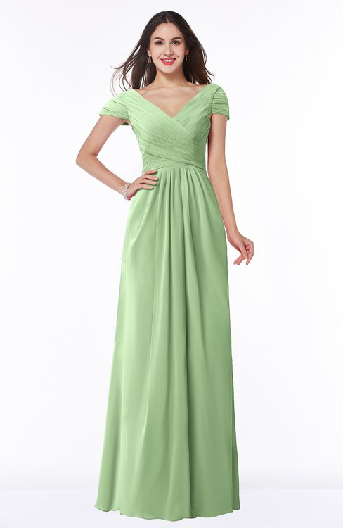 ColsBM Evie Sage Green Glamorous A-line Short Sleeve Floor Length Ruching Plus Size Bridesmaid Dresses