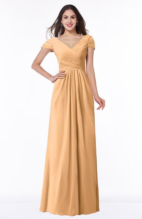 ColsBM Evie Salmon Buff Glamorous A-line Short Sleeve Floor Length Ruching Plus Size Bridesmaid Dresses