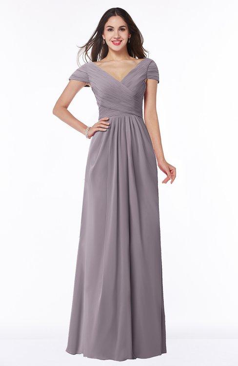 ColsBM Evie Sea Fog Glamorous A-line Short Sleeve Floor Length Ruching Plus Size Bridesmaid Dresses