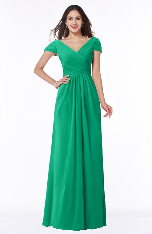 ColsBM Evie Sea Green Glamorous A-line Short Sleeve Floor Length Ruching Plus Size Bridesmaid Dresses