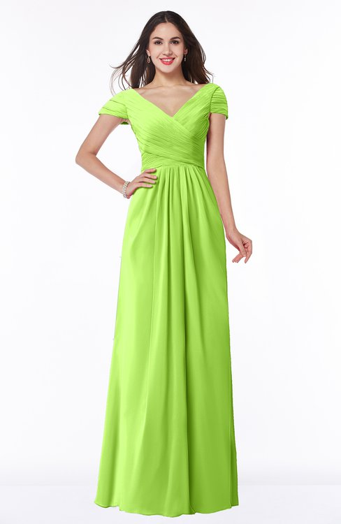 ColsBM Evie Sharp Green Glamorous A-line Short Sleeve Floor Length Ruching Plus Size Bridesmaid Dresses