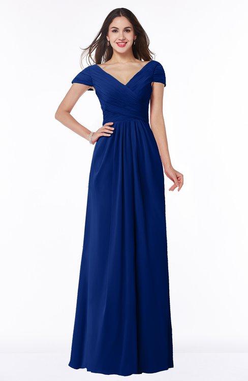 ColsBM Evie Sodalite Blue Glamorous A-line Short Sleeve Floor Length Ruching Plus Size Bridesmaid Dresses