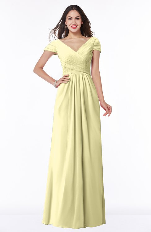 ColsBM Evie Soft Yellow Glamorous A-line Short Sleeve Floor Length Ruching Plus Size Bridesmaid Dresses
