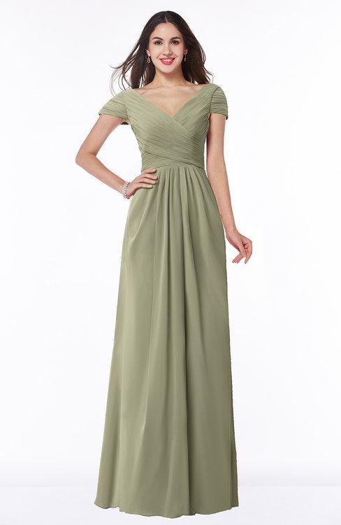 ColsBM Evie Sponge Glamorous A-line Short Sleeve Floor Length Ruching Plus Size Bridesmaid Dresses