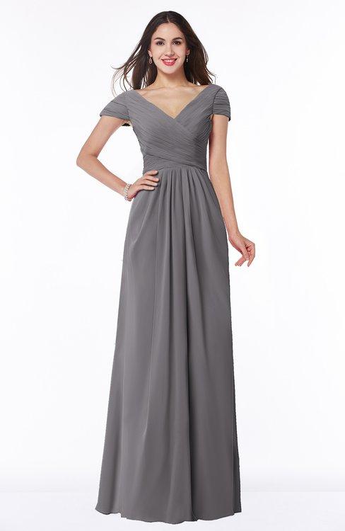 ColsBM Evie Storm Front Glamorous A-line Short Sleeve Floor Length Ruching Plus Size Bridesmaid Dresses