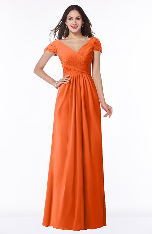 ColsBM Evie Tangerine Glamorous A-line Short Sleeve Floor Length Ruching Plus Size Bridesmaid Dresses