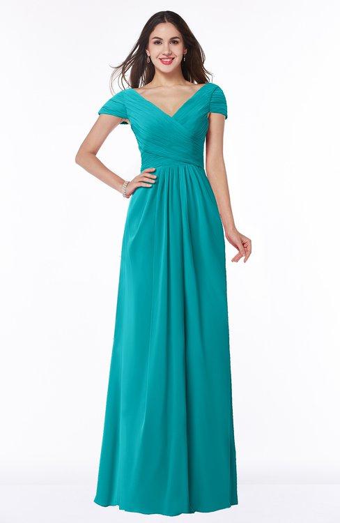 ColsBM Evie Teal Glamorous A-line Short Sleeve Floor Length Ruching Plus Size Bridesmaid Dresses