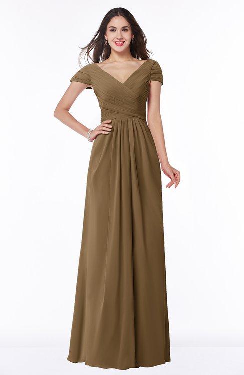 ColsBM Evie Truffle Glamorous A-line Short Sleeve Floor Length Ruching Plus Size Bridesmaid Dresses