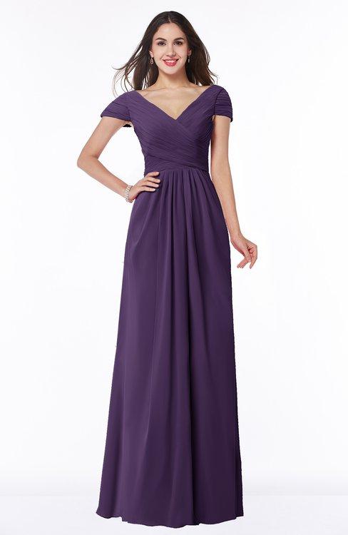ColsBM Evie Violet Glamorous A-line Short Sleeve Floor Length Ruching Plus Size Bridesmaid Dresses