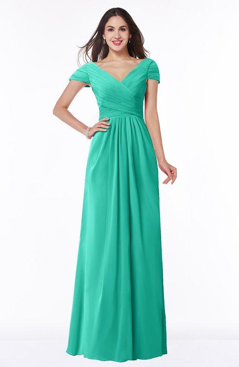 ColsBM Evie Viridian Green Glamorous A-line Short Sleeve Floor Length Ruching Plus Size Bridesmaid Dresses