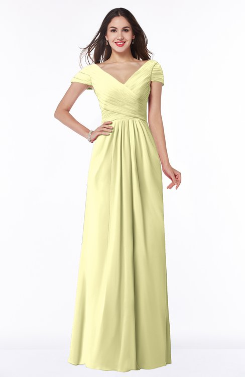 ColsBM Evie Wax Yellow Glamorous A-line Short Sleeve Floor Length Ruching Plus Size Bridesmaid Dresses