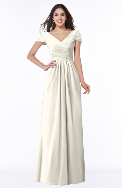 ColsBM Evie Whisper White Glamorous A-line Short Sleeve Floor Length Ruching Plus Size Bridesmaid Dresses