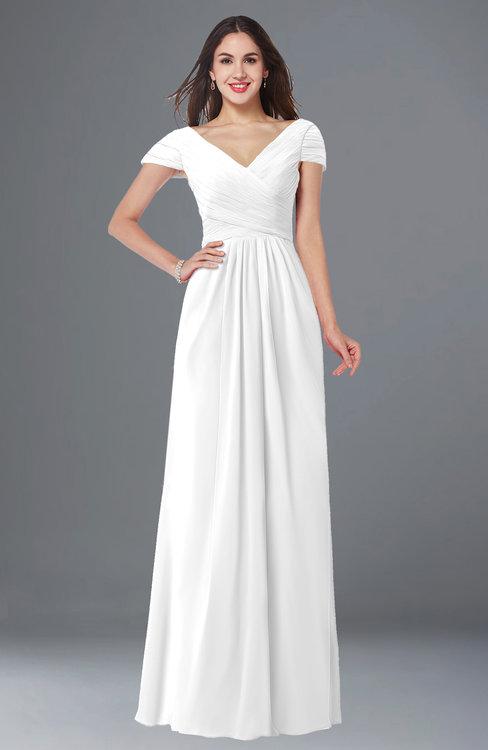 ColsBM Evie White Glamorous A-line Short Sleeve Floor Length Ruching Plus Size Bridesmaid Dresses