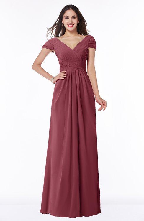 ColsBM Evie Wine Glamorous A-line Short Sleeve Floor Length Ruching Plus Size Bridesmaid Dresses