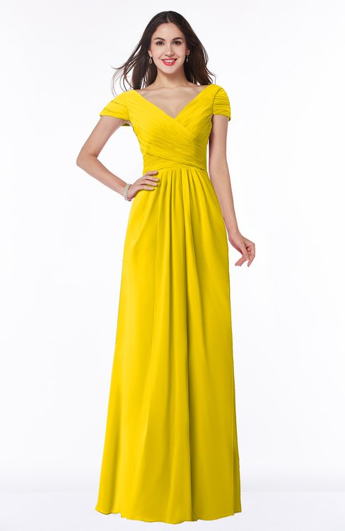 ColsBM Evie Yellow Glamorous A-line Short Sleeve Floor Length Ruching Plus Size Bridesmaid Dresses