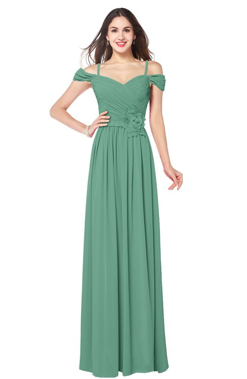 ColsBM Susan Beryl Green Mature Short Sleeve Zipper Floor Length Ribbon Plus Size Bridesmaid Dresses