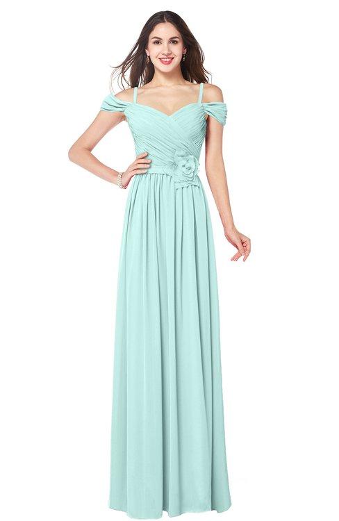ColsBM Susan Blue Glass Mature Short Sleeve Zipper Floor Length Ribbon Plus Size Bridesmaid Dresses