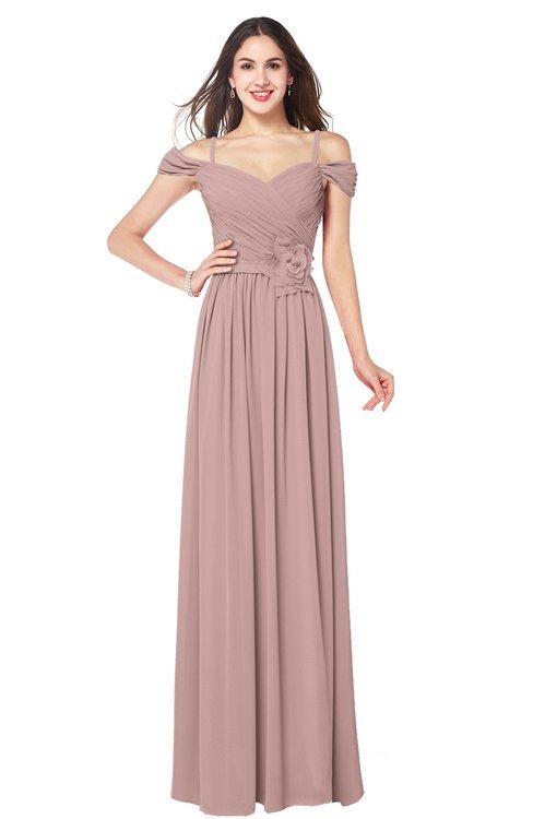 ColsBM Susan Blush Pink Mature Short Sleeve Zipper Floor Length Ribbon Plus Size Bridesmaid Dresses