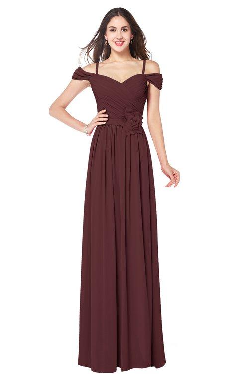 ColsBM Susan Burgundy Mature Short Sleeve Zipper Floor Length Ribbon Plus Size Bridesmaid Dresses