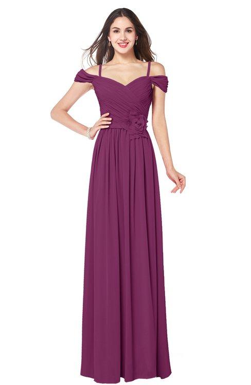 ColsBM Susan Raspberry Mature Short Sleeve Zipper Floor Length Ribbon Plus Size Bridesmaid Dresses