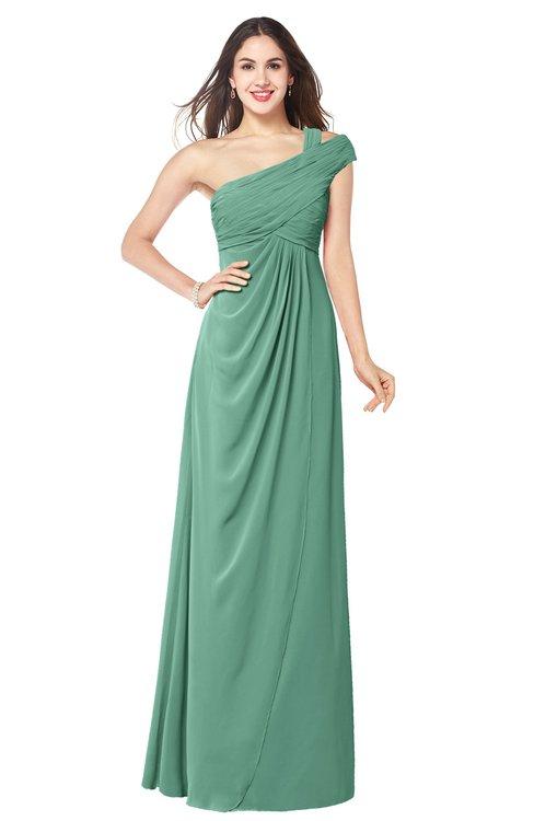 ColsBM Bethany Beryl Green Modern A-line Sleeveless Chiffon Floor Length Plus Size Bridesmaid Dresses