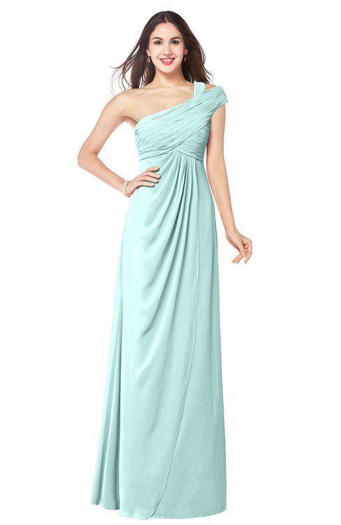 ColsBM Bethany Blue Glass Modern A-line Sleeveless Chiffon Floor Length Plus Size Bridesmaid Dresses