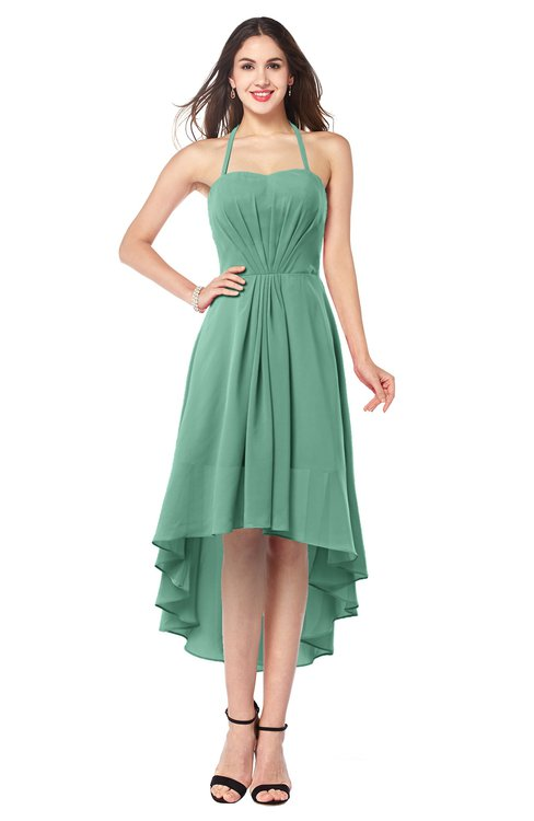 ColsBM Hannah Beryl Green Casual A-line Halter Half Backless Asymmetric Ruching Plus Size Bridesmaid Dresses