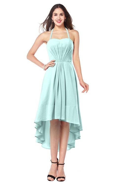 ColsBM Hannah Blue Glass Casual A-line Halter Half Backless Asymmetric Ruching Plus Size Bridesmaid Dresses