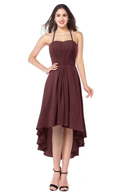 ColsBM Hannah Burgundy Casual A-line Halter Half Backless Asymmetric Ruching Plus Size Bridesmaid Dresses