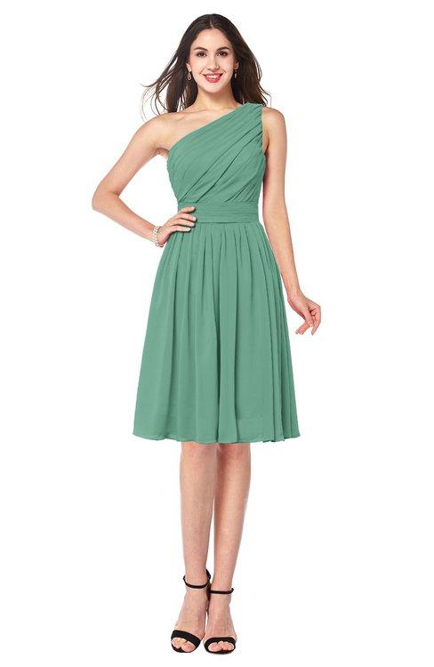 ColsBM Lorelei Beryl Green Elegant Asymmetric Neckline Zipper Chiffon Knee Length Plus Size Bridesmaid Dresses