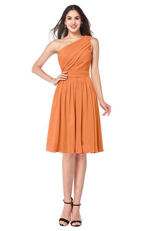 ColsBM Lorelei Mango Elegant Asymmetric Neckline Zipper Chiffon Knee Length Plus Size Bridesmaid Dresses