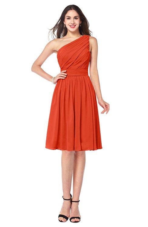 ColsBM Lorelei Tangerine Tango Elegant Asymmetric Neckline Zipper Chiffon Knee Length Plus Size Bridesmaid Dresses