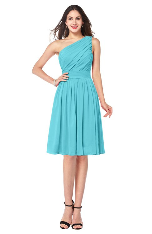 ColsBM Lorelei Turquoise Elegant Asymmetric Neckline Zipper Chiffon Knee Length Plus Size Bridesmaid Dresses