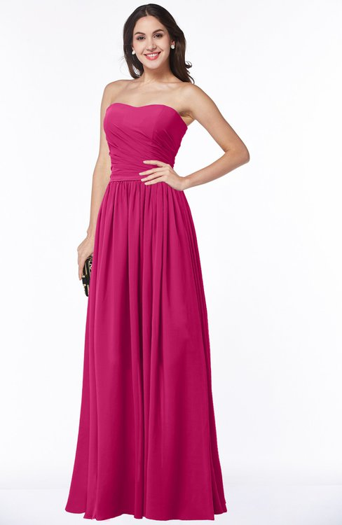 ColsBM Janelle Beetroot Purple Modern Zip up Chiffon Floor Length Pleated Plus Size Bridesmaid Dresses