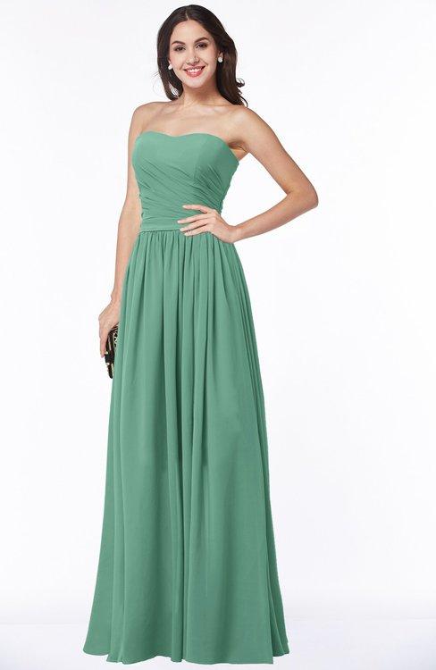 ColsBM Janelle Beryl Green Modern Zip up Chiffon Floor Length Pleated Plus Size Bridesmaid Dresses