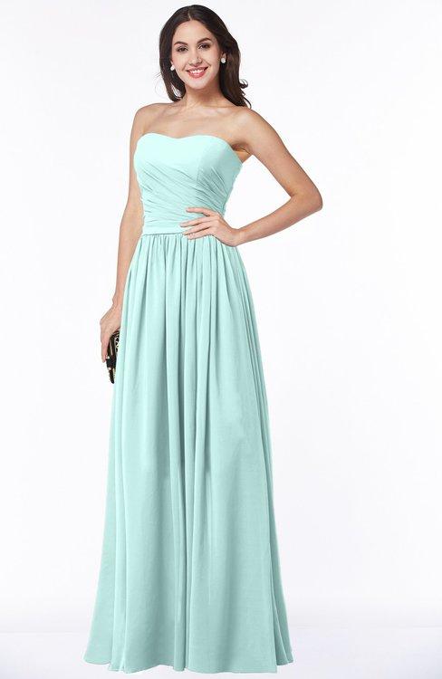 ColsBM Janelle Blue Glass Modern Zip up Chiffon Floor Length Pleated Plus Size Bridesmaid Dresses