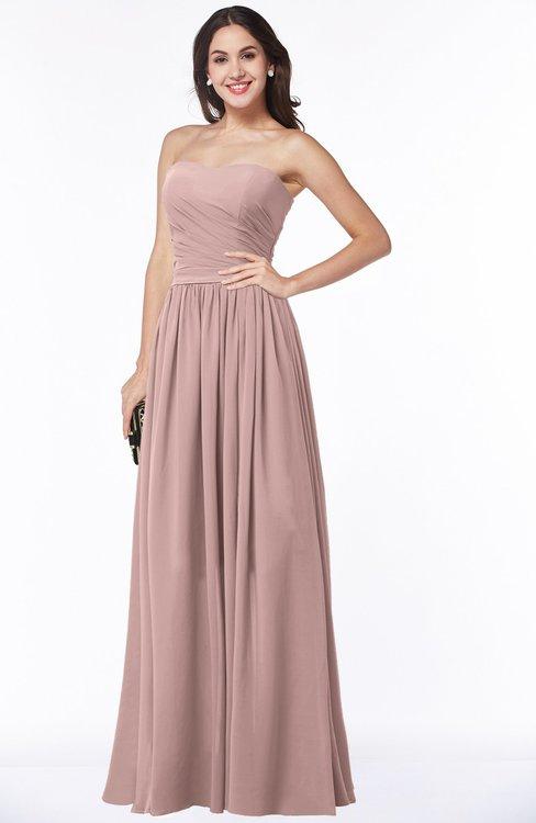 ColsBM Janelle Blush Pink Modern Zip up Chiffon Floor Length Pleated Plus Size Bridesmaid Dresses