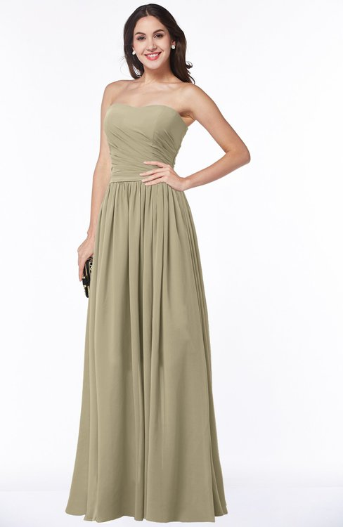 ColsBM Janelle Candied Ginger Modern Zip up Chiffon Floor Length Pleated Plus Size Bridesmaid Dresses