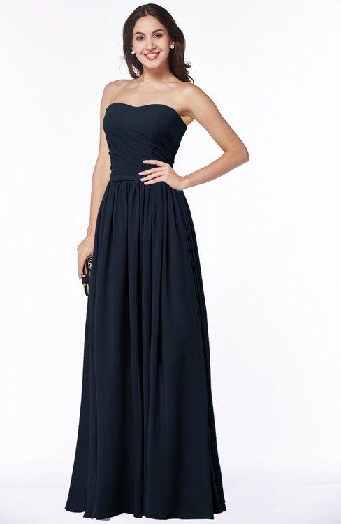 ColsBM Janelle Navy Blue Modern Zip up Chiffon Floor Length Pleated Plus Size Bridesmaid Dresses