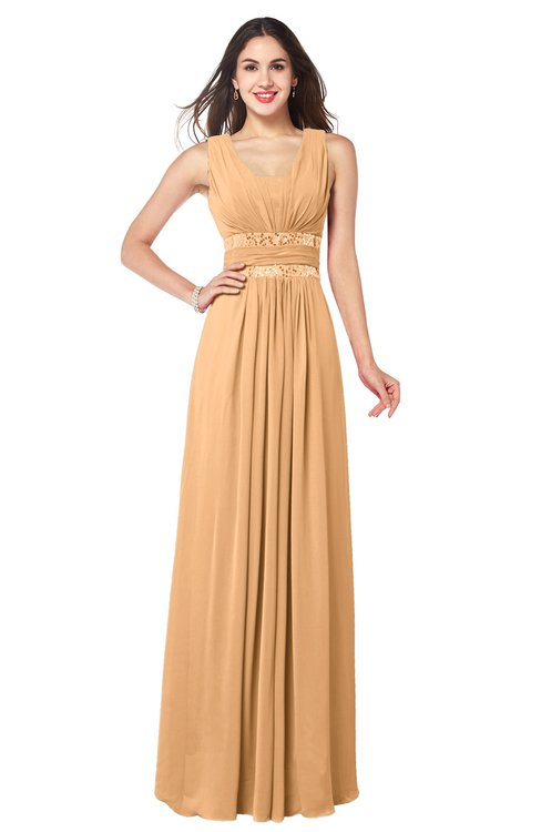 ColsBM Kelly Apricot Glamorous A-line Zip up Chiffon Sash Plus Size Bridesmaid Dresses