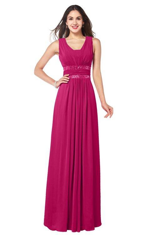 ColsBM Kelly Beetroot Purple Glamorous A-line Zip up Chiffon Sash Plus Size Bridesmaid Dresses