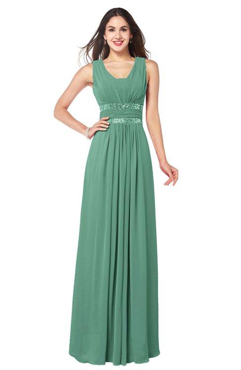 ColsBM Kelly Beryl Green Glamorous A-line Zip up Chiffon Sash Plus Size Bridesmaid Dresses