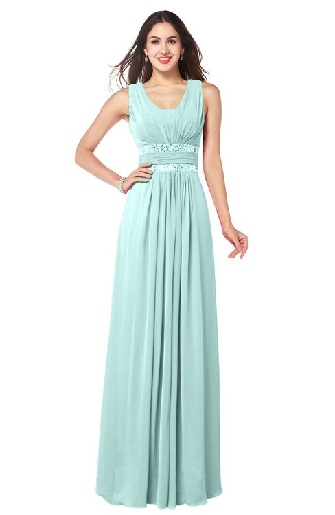 ColsBM Kelly Blue Glass Glamorous A-line Zip up Chiffon Sash Plus Size Bridesmaid Dresses
