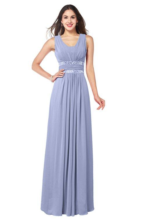 ColsBM Kelly Blue Heron Glamorous A-line Zip up Chiffon Sash Plus Size Bridesmaid Dresses